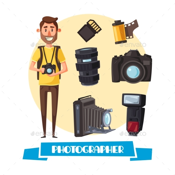 Photographer with Digital Camera Cartoon Icon - People Characters