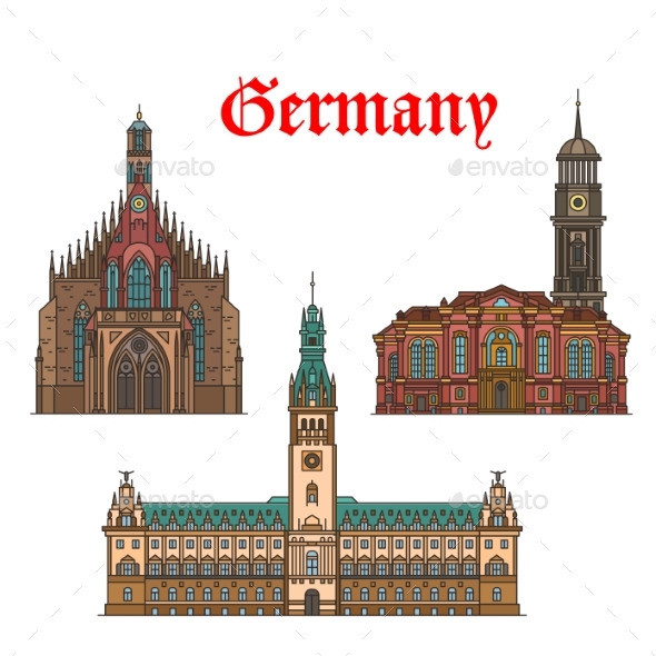 German Travel Landmarks Icon of Church, City Hall - Buildings Objects