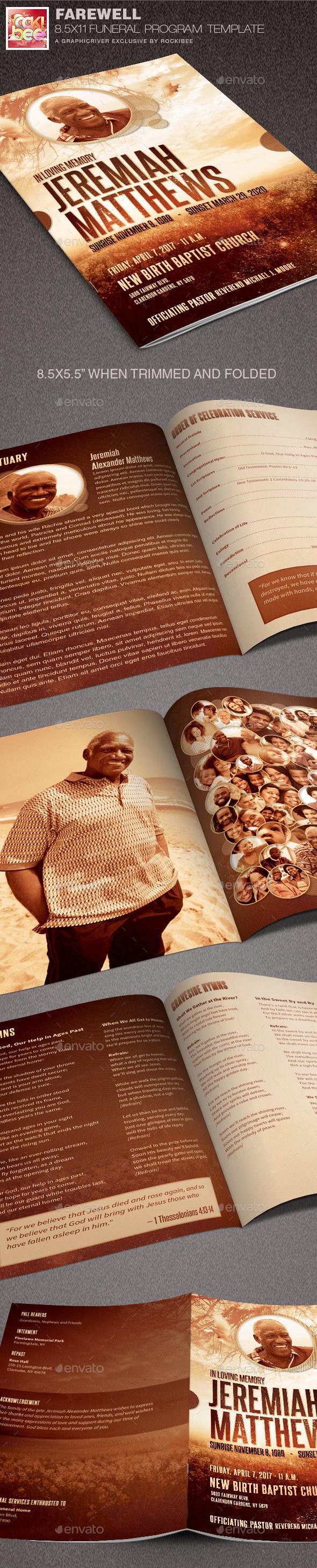 Farewell Funeral Program Template - Informational Brochures