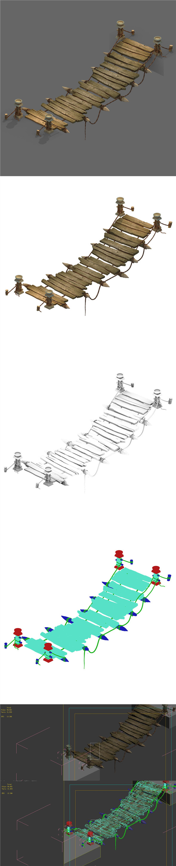 Field - Cable Suspension Bridge 01 - 3DOcean Item for Sale