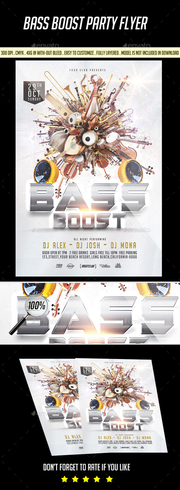 Bass Boost Party Flyer - Clubs & Parties Events