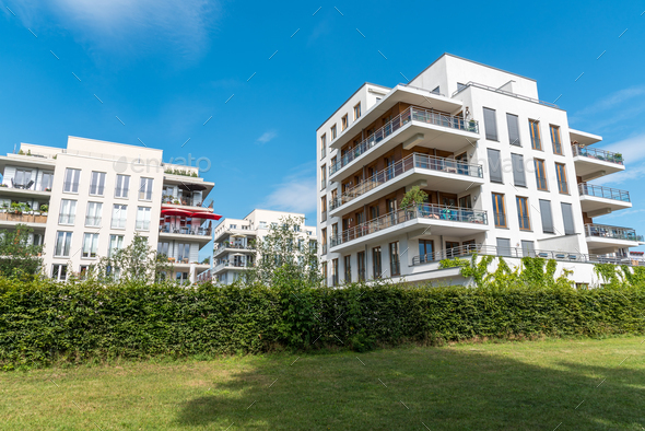 Modern apartment houses in Berlin - Stock Photo - Images