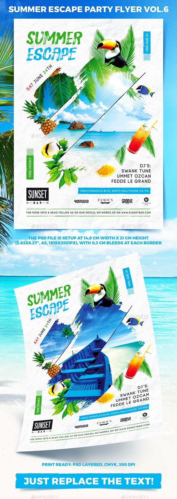 Summer Escape Party Flyer vol.6 - Events Flyers