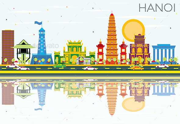 Hanoi Skyline with Color Buildings, Blue Sky and Reflections. - Buildings Objects