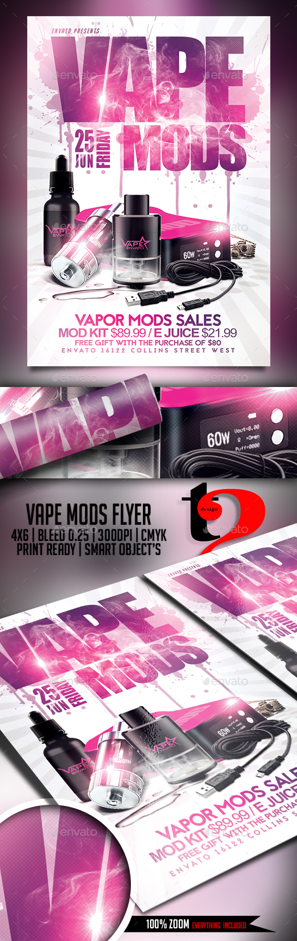Vape Mods Flyer Template - Clubs & Parties Events