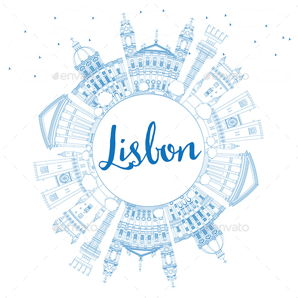 Outline Lisbon Skyline with Blue Buildings and Copy Space. - Buildings Objects