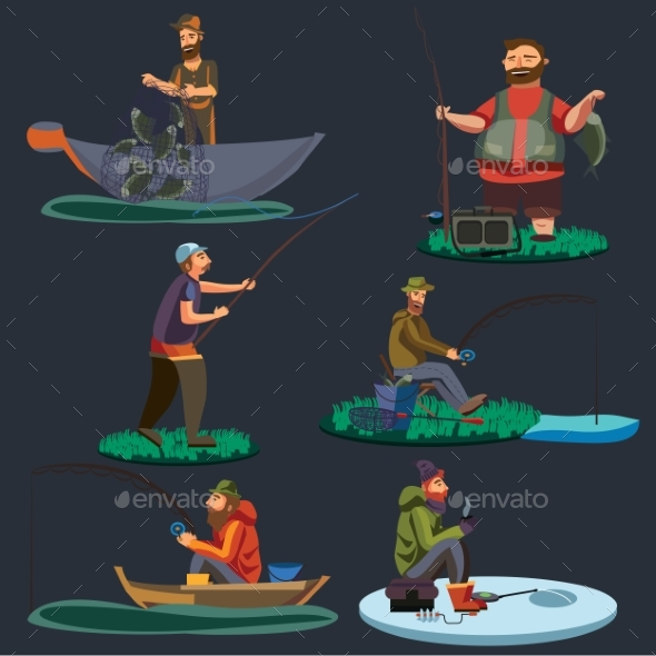Fisherman Catches Fish Sitting on Boat - People Characters