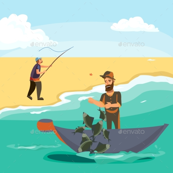 Cartoon Fisherman Standing in Hat and Pulls Net - People Characters