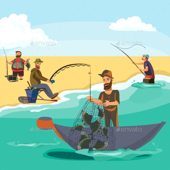 Cartoon Fisherman Standing in Hat and Pulls Net on - People Characters