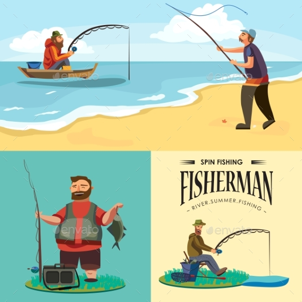 Flat Fisherman Hat Sits on Shore with Fishing Rod - People Characters