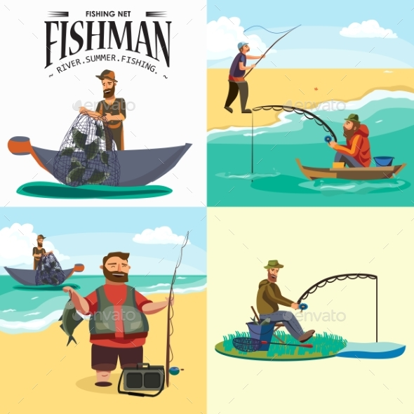 Cartoon Fisherman Standing in Hat - People Characters