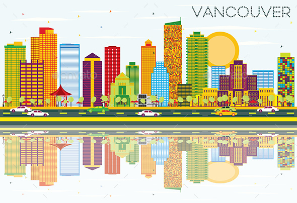 Vancouver Skyline with Color Buildings, Blue Sky and Reflections. - Buildings Objects