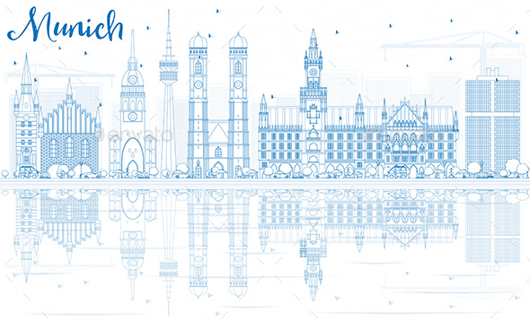 Outline Munich Skyline with Blue Buildings and Reflections. - Buildings Objects