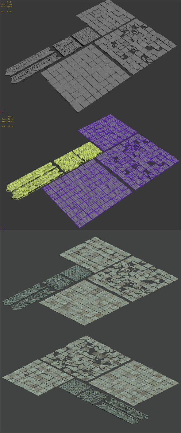 Medium city - brick pavement - 3DOcean Item for Sale