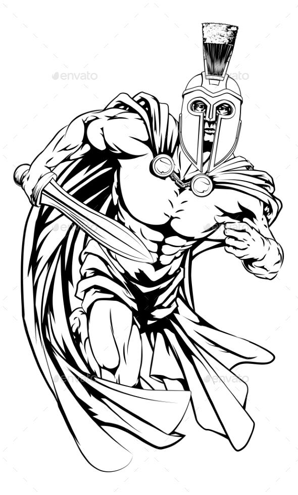 Trojan Mascot Character - Sports/Activity Conceptual