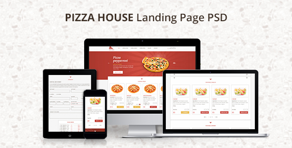 Pizza House – Landing Page PSD Template