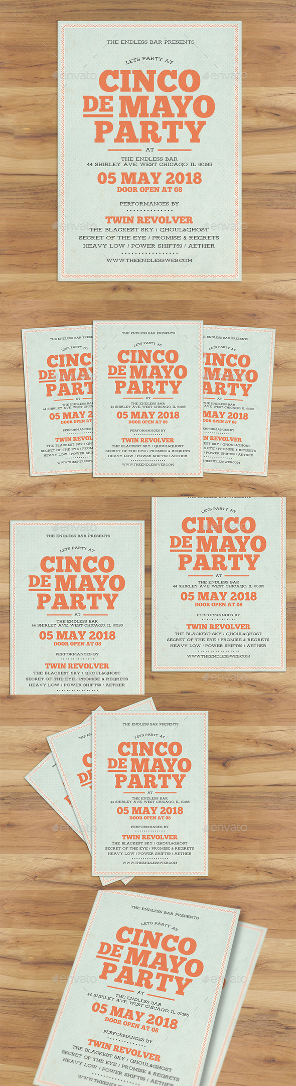 Cinco De Mayo Typography Flyer - Holidays Events