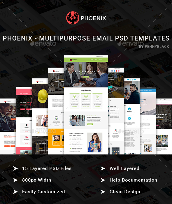 Phoenix - Multipurpose Email Templates - E-newsletters Web Elements