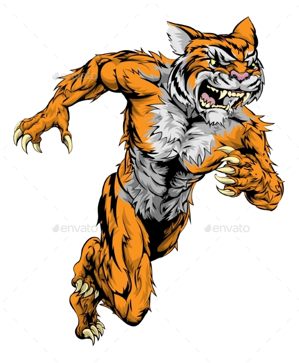 Tiger Sports Mascot Running - Animals Characters