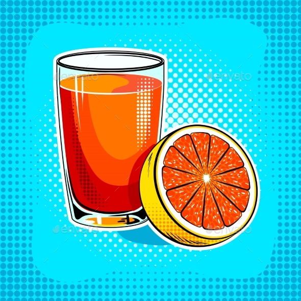 Fresh Juice Pop Art Vector Illustration - Food Objects