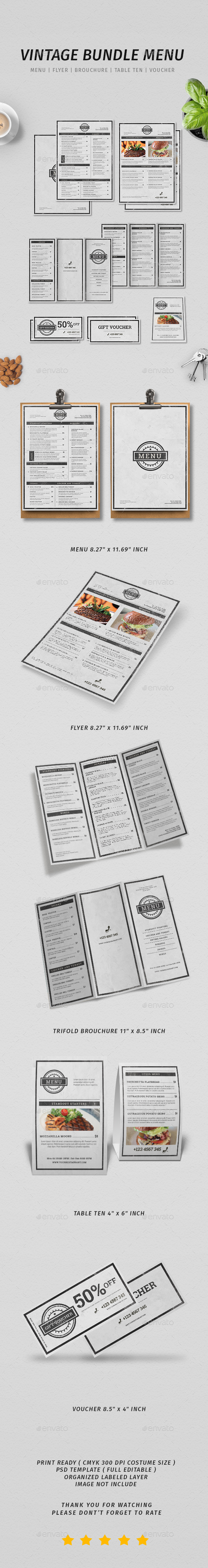 Vintage Menu Bundle - Restaurant Flyers