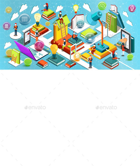 Online Education Isometric Flat Design - Abstract Conceptual