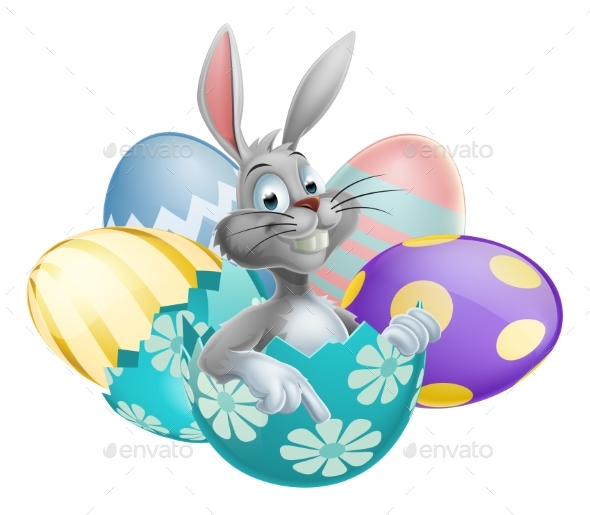Easter Egg White Rabbit - Seasons/Holidays Conceptual