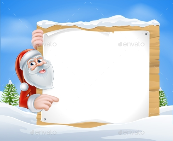 Christmas Cartoon Santa Sign - Miscellaneous Vectors