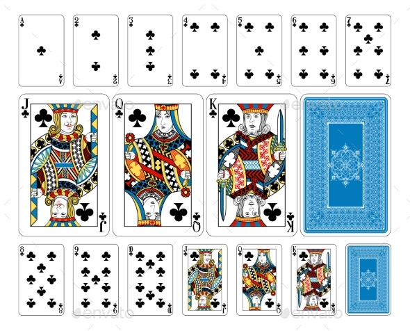 Bridge Size Club Playing Cards Plus Reverse - Miscellaneous Vectors