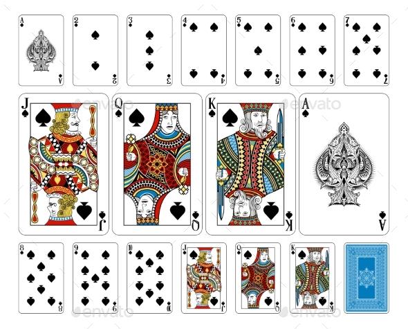 Bridge Size Spade Playing Cards Plus Reverse - Miscellaneous Vectors