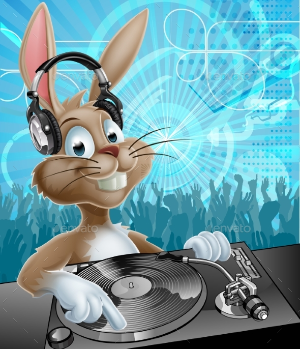 Easter Bunny Party DJ - Miscellaneous Vectors