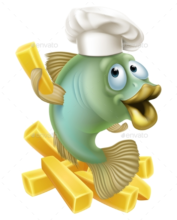 Fish and Chips Chartoon Chef - Animals Characters