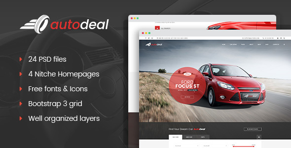 AutoDeal - Car Retail PSD template - Business Corporate