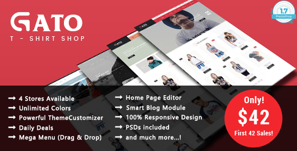 Gato – T-shirt Shop Responsive Prestashop 1.7 Theme