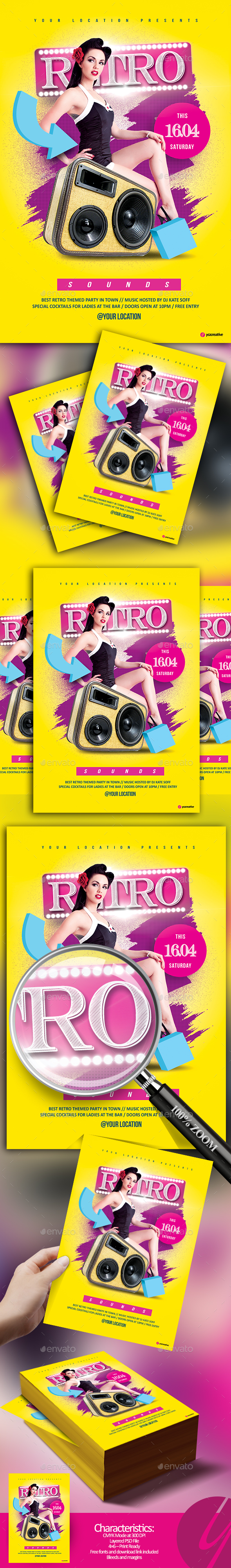 Retro Sounds Flyer - Clubs & Parties Events