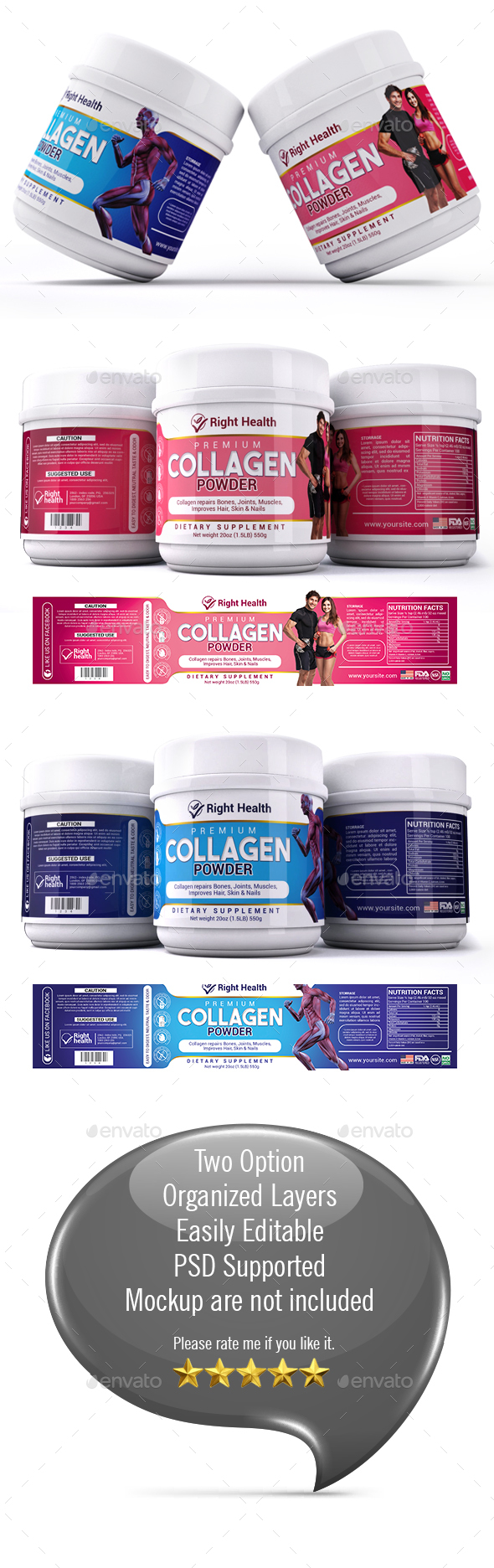 Collagen Powder Supplement - Packaging Print Templates