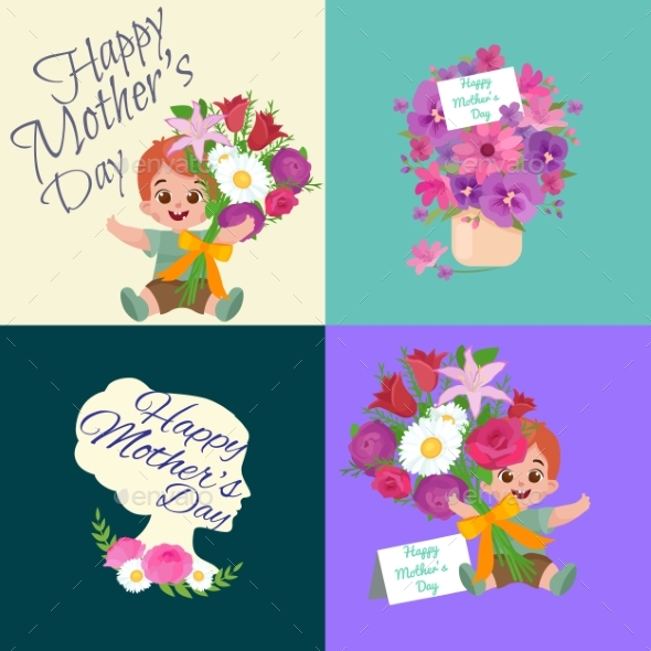 Set of Happy Mothers Day Cards with Greeting Text - People Characters