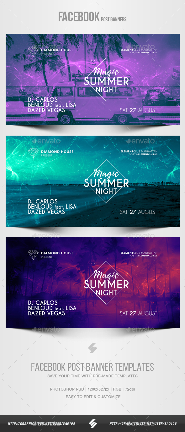Electronic Music Party vol.19 - Facebook Post Banner Templates - Social Media Web Elements