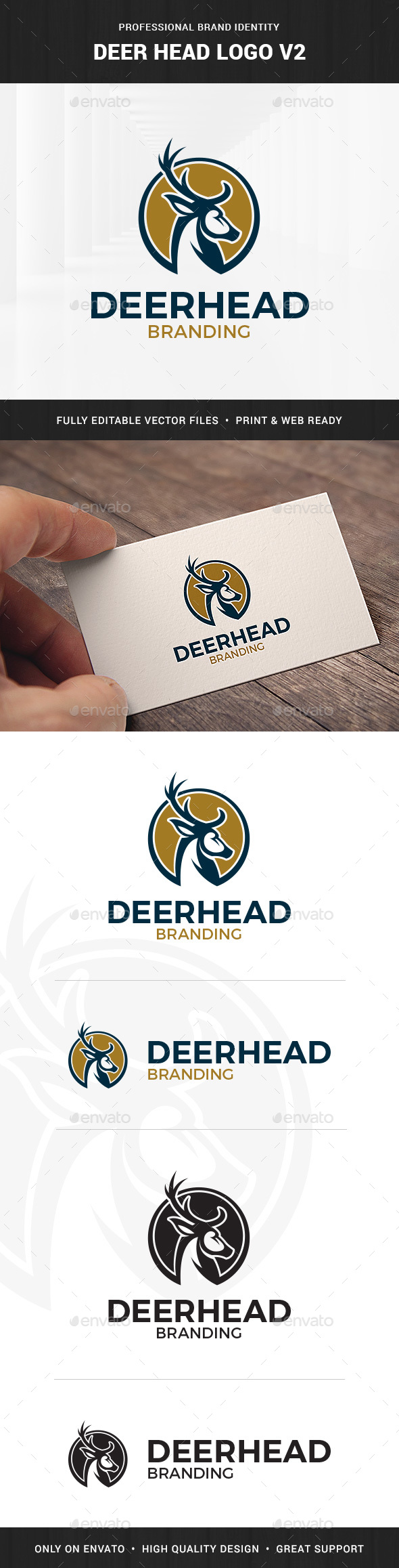 Deer Head Logo Template v2 - Animals Logo Templates