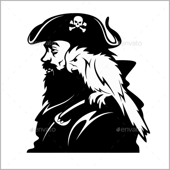 Pirate with a Parrot on His Shoulder - People Characters