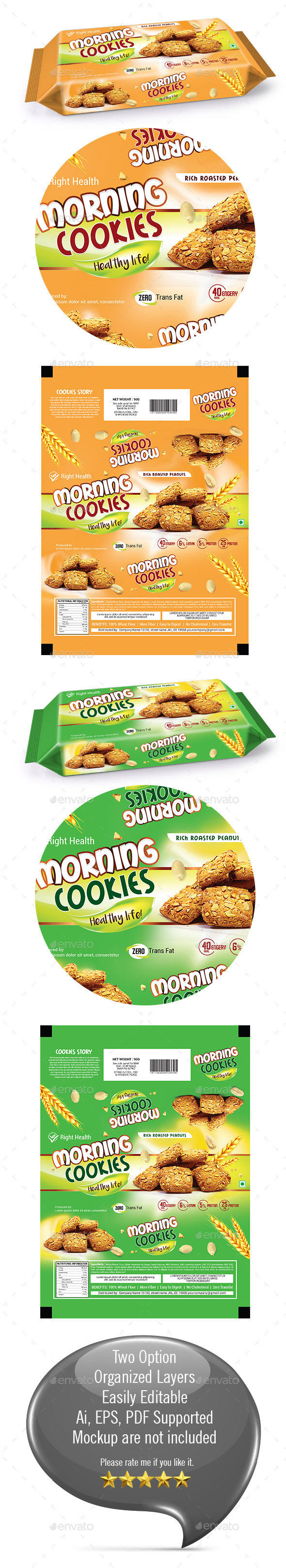 Cookies Packaging Templates - Packaging Print Templates