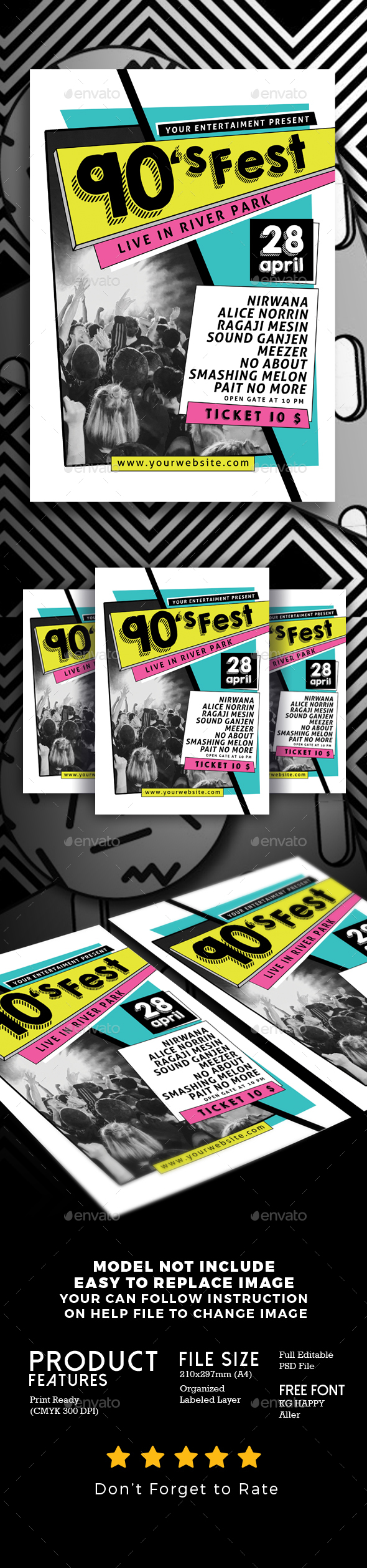 90's Music Festival - Events Flyers