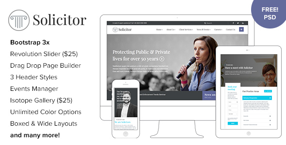 Solicitor - Law Business Responsive WordPress Theme - Business Corporate