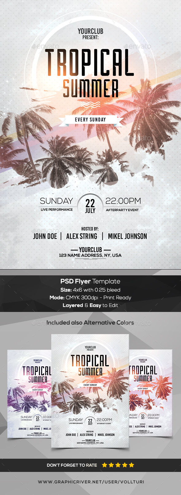 Tropical Summer - PSD Flyer - Flyers Print Templates