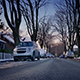 Road In Winter Suburbs At Sunset - VideoHive Item for Sale