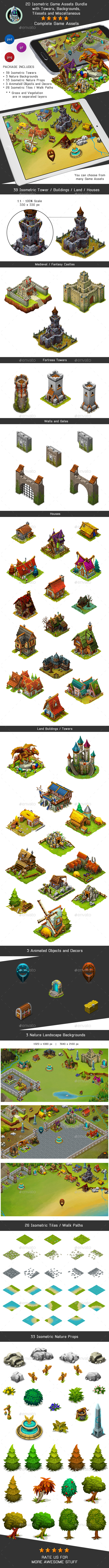 2D Isometric Game Assets Bundle - Towers, Castles, Houses & more - Game Kits Game Assets