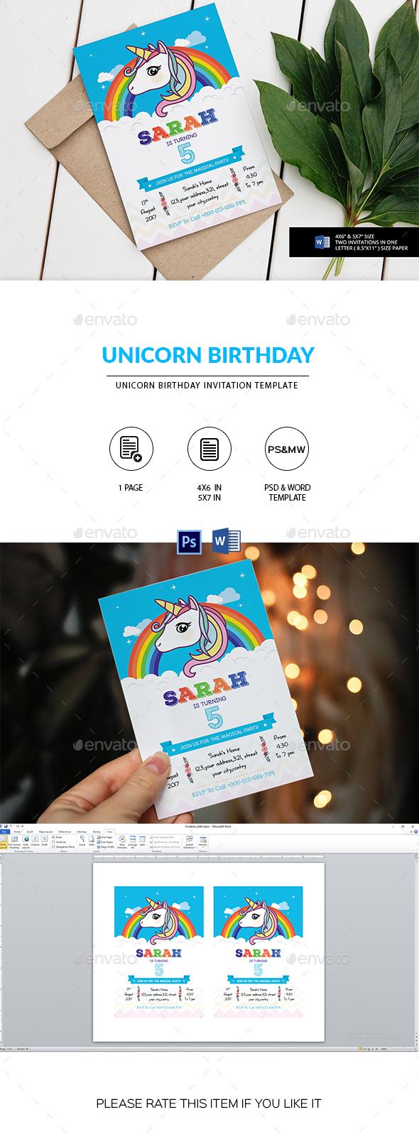 Unicorn Birthday Party Invitation Template - Invitations Cards & Invites