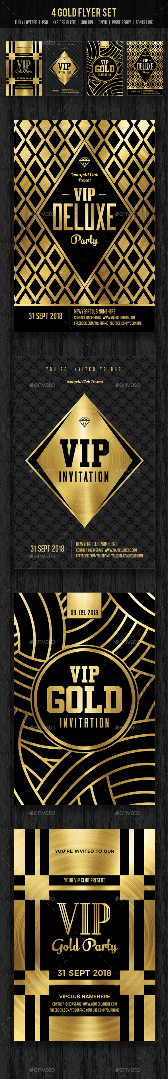 Gold Flyer Set / Gold Invitation - Clubs & Parties Events