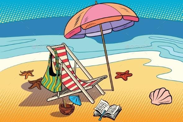 Beach Lounger and Sun Umbrella - Landscapes Nature