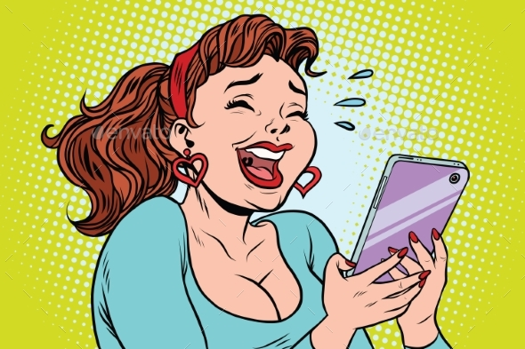 Comic Girl Laughing To Tears Reading a Smartphone - Technology Conceptual